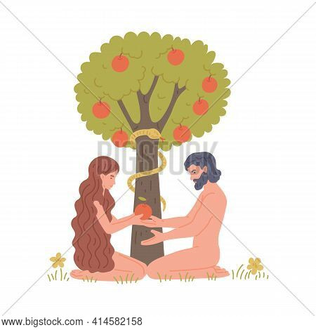 Adam And Eve In Eden Next To Apple Tree, Flat Vector Illustration Isolated.