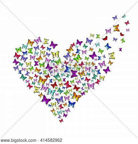 Heart Made Of Butterflies With Butterflies Fly Out Of The Heart