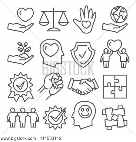 Honesty And Integrity Line Icons On White Background