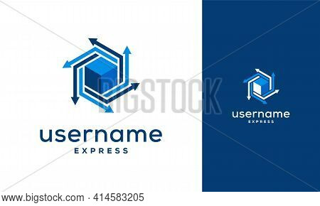 Box Express Delivery Logo, Logistic Company Vector Logo Template