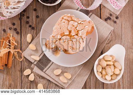 Colomba Italian Easter Dove Bread On White Dish.