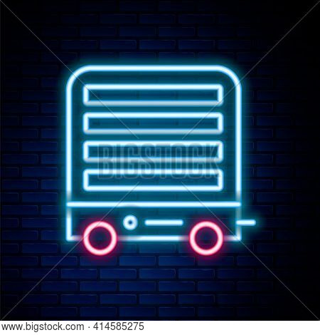 Glowing Neon Line Electric Heater Icon Isolated On Brick Wall Background. Infrared Floor Heater With