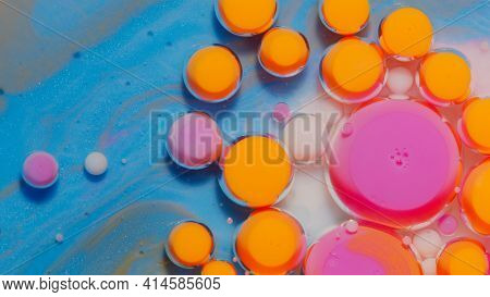 Bright Neon Colorful Bubbles Oil And Ink, Beautiful Fluorescent Paint. Sparkling Color Multicolor Mo