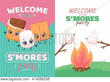 Set Of Invitations For Smores Day Party Kawaii Sweets Flat Vector Illustration.