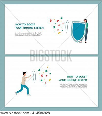 Boosting Immune System And Staying Healthy Banners, Flat Vector Illustration.