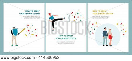 Boost Immune System For Protection Of Human Health From Diseases A Vector Posters