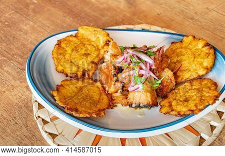 A Plate Of Fried Plantain Served With Shredded Beef Drizzled With Onion And Lime Dressing Landscape