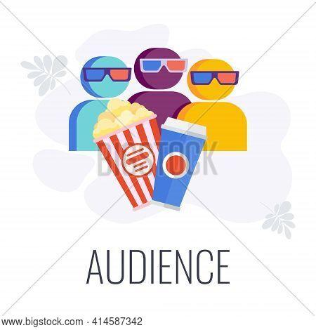 Video Marketing Audience Icon. Spectators In The Auditorium.
