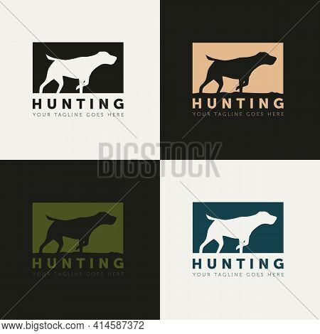 Set Of Hunting Dog Silhouette Style Logo Vector Design Template. Simple Creative Outdoor Hunter Logo