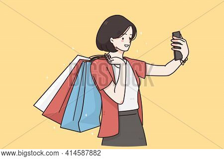 Making Selfie, Online Communication Concept. Young Smiling Female Cartoon Character Standing Making