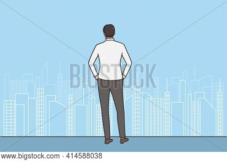 New Chances, Possibilities, Business Success Concept. Back Of Businessman Standing In Office Near Bi