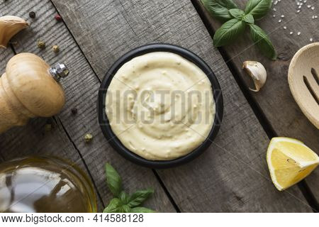 Conceptual Flat Lay. Making Garlic Cream Sauce Or Cooking Cheese Sauce, Food And Seasoning, Homemade