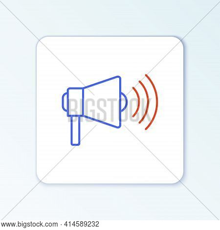 Line Megaphone Icon Isolated On White Background. Loud Speach Alert Concept. Bullhorn For Mouthpiece
