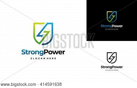 Safe Energy Logo Template, Strong Power Logo Designs Vector Illustration