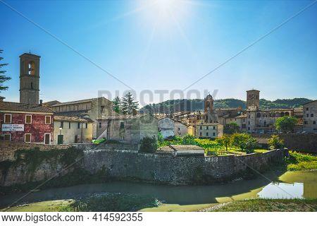Sant'angelo In Vado Village And River Metauro. Marche Region, Italy, Europe.