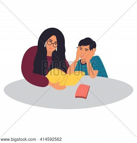 A Mother Reads A Book To Her Son. Mother And Son Are Doing Their Homework. Home Education, Distance