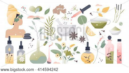 Herbal Medicine And Alternative Homeopathy Collection Set Tiny Person Concept
