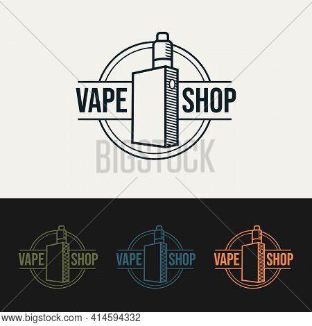 Set Of Vape Shop Minimalist Line Art Logo Template Vector Illustration Design. Simple Modern Emblem