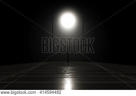 A Concept Showing Posts On A Reflective Concrete Lined American Football Field Backlit By A Single H