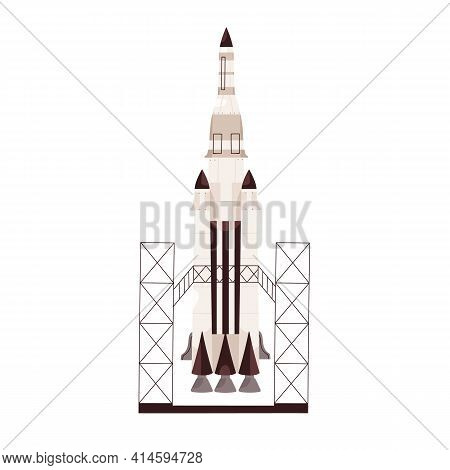 Rocket Ready To Launch, Standing At Station. Rocketship Before Takeoff. Colored Flat Vector Illustra