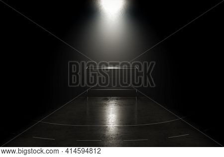 A Concept Showing A Goal On A Reflective Concrete Lined Lawn Hockey Field Backlit By A Single Honeyc