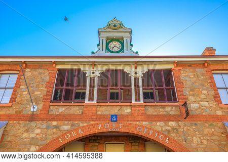 York, Australia - Dec 25, 2017: Details Of Original Clock Of York Post Office Built In 1893, York, A