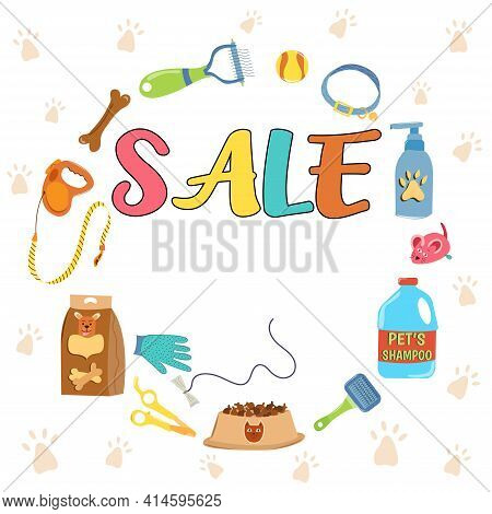 Pet Shop Discount Sale Poster, Banner Design Template. Set Of Pet Care Accessories. Collection Of Is