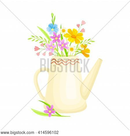 Blooming Flower Bunch Rested In Teakettle As Spring Vector Composition