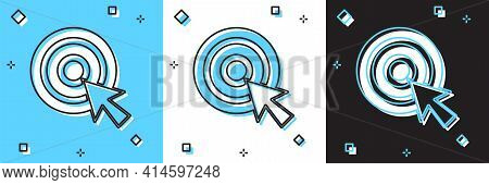 Set Target With Arrow Icon Isolated On Blue And White, Black Background. Dart Board Sign. Archery Bo