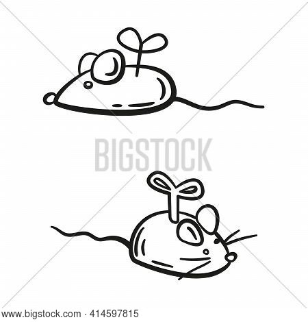 Doodle Clockwork Toy Mouse. Accessories For Pets. Line Hand Drawn Vector Illustration