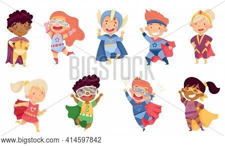 Kids Wearing Costumes Of Superhero Pretending Having Powers For Fighting Crime Vector Set