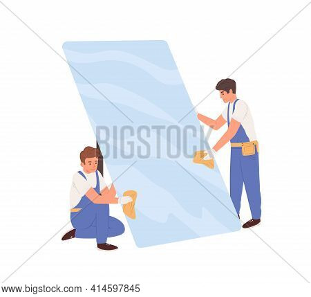Workers In Uniform Cleaning Big Glass. Glaziers Installing Window Or Protective Phone Screen. Colore