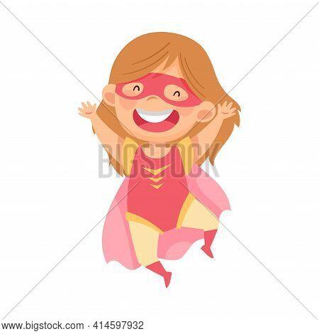Beaming Girl Wearing Costume Of Superhero Jumping High Pretending Having Power For Fighting Crime Ve