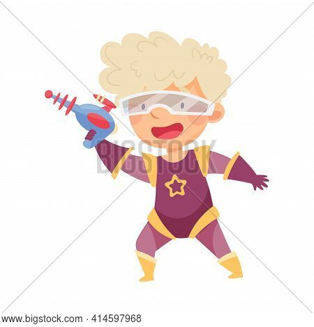 Cute Boy Wearing Mask As Superhero Holding Water Pistol Pretending Having Power For Fighting Crime V