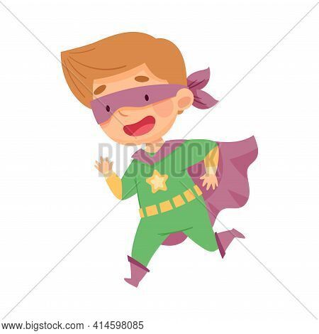 Cute Boy Wearing Cape And Mask As Superhero Running Fast Pretending Having Power For Fighting Crime