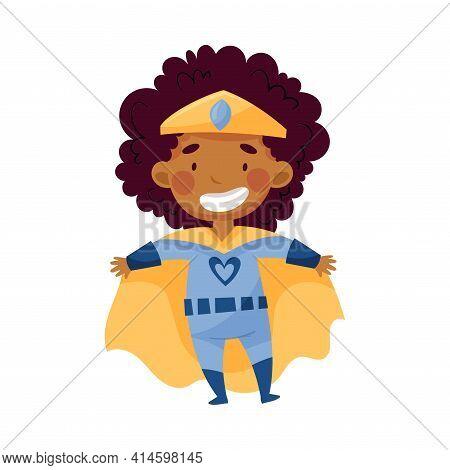 Little African American Girl Wearing Costume Of Superhero Standing Pretending Having Power For Fight