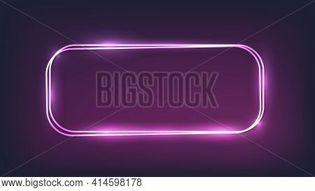 Neon Double Rounded Rectangular Frame With Shining Effects On Dark Background. Empty Glowing Techno