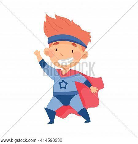 Cute Redhead Boy Wearing Cape As Superhero Pretending Having Power For Fighting Crime Vector Illustr