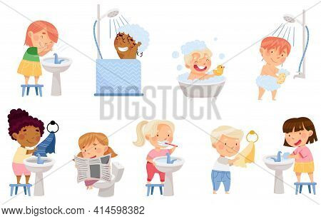 Little Kids Taking Bath, Brushing Teeth And Washing Hands And Face Vector Set