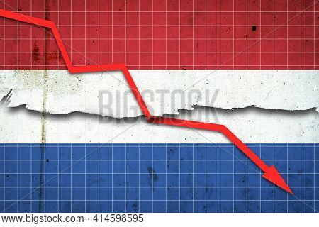 Fall Of The Netherlands Economy. Recession Graph With A Red Arrow On The Netherlands Flag. Economic
