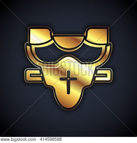 Gold American Football Player Chest Protector Icon Isolated On Black Background. Shoulder And Chest