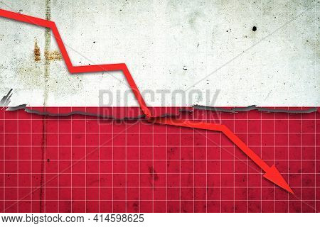 Fall Of The Poland Economy. Recession Graph With A Red Arrow On The Poland Flag. Economic Decline. D