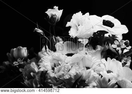 Flower Bouquet As Beautiful Floral Arrangement, Creative Flowers And Floristic Design, Classic Black