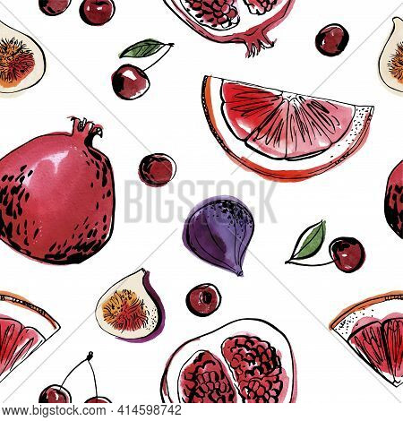 Pattern Sketch Food Watercolor Ink. Fruit On A White Background. Pomegranate, Grapefruit, Fig