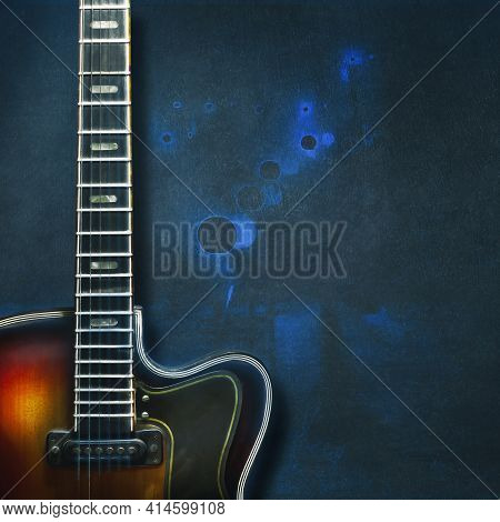 Old, Jazz Electric Guitar On Grunge Blue Background. Close-up. Copy Space. Background For Music Fest