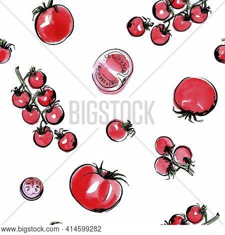 Vector Pattern Sketch Of Vegetables. Color Sketch Of Food