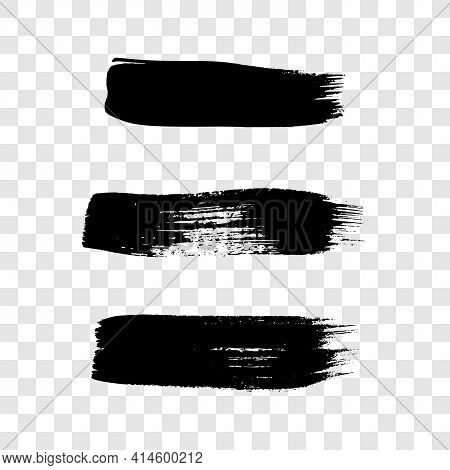 Black Grunge Brush Strokes. Set Of Three Painted Ink Stripes. Ink Spot Isolated On Transparent Backg