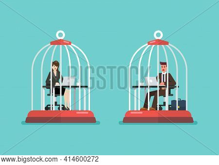 Business Man And Woman Working At Desk Trapped Inside Birdcages. Stress At Work Concept. Vector Illu