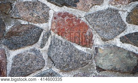 Wall Of Stones. Dry Masonry. Folded Stone Wall. Stone Wall As Background. Concept Of Construction, A
