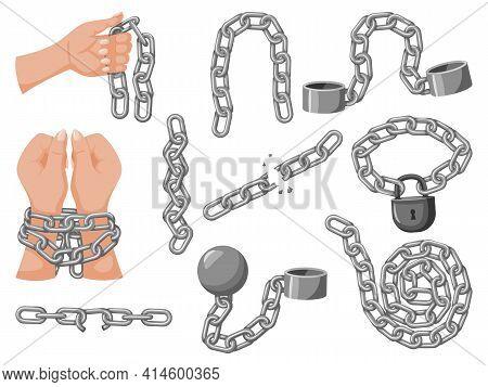 Iron Chain Set. Assortment Of Heavy Metallic Chains. Monochrome Curled Iron Chain Broken In Half